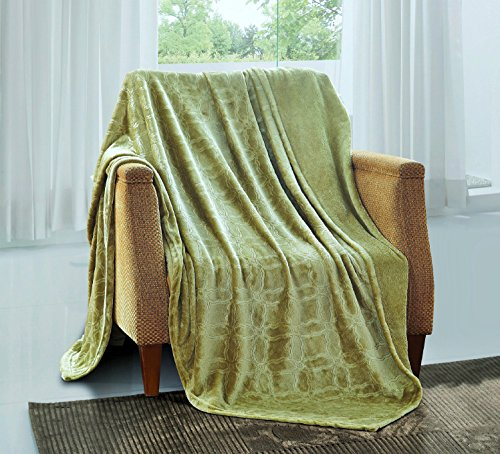 All American Collection New Super Soft Solid Embossed Ashly Throw Blanket Queen/King Size (Sage Green)