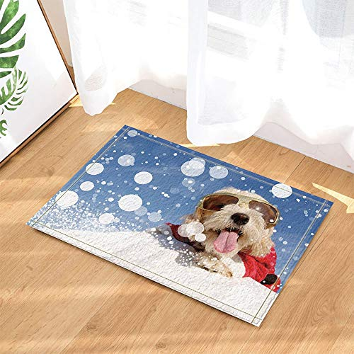 Christmas Decor Funny Dog with Glasses and Stretched Out Tongue Lying on Snow Bath Rugs Non-Slip Doormat Indoor Mat 23.6X15.7IN