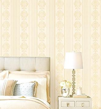 Creme Beige Geprägter Damast Gestreifte Tapeten Für Schlafzimmer, Beige,  5.3m²