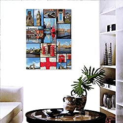 England Wall Decoration England City Red Telephone Booth Clock Tower Bridge River British Flag Flowers Customizable Wall Stickers 32x48 Blue Red