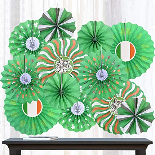 St. Patrick's Day Paper Fans Tissue Green Shamrocks Round Pattern Folding Fans Bundle Hanging Sign Lucky Irish Party Decorations Supplies Ornament, 12PCS (Green)]()