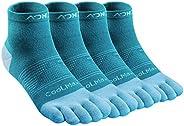 AONIJIE 2 Pairs Running Toe Socks, Athletic Socks, Five Finger Trainer Socks, Toe Separator Socks for Men and
