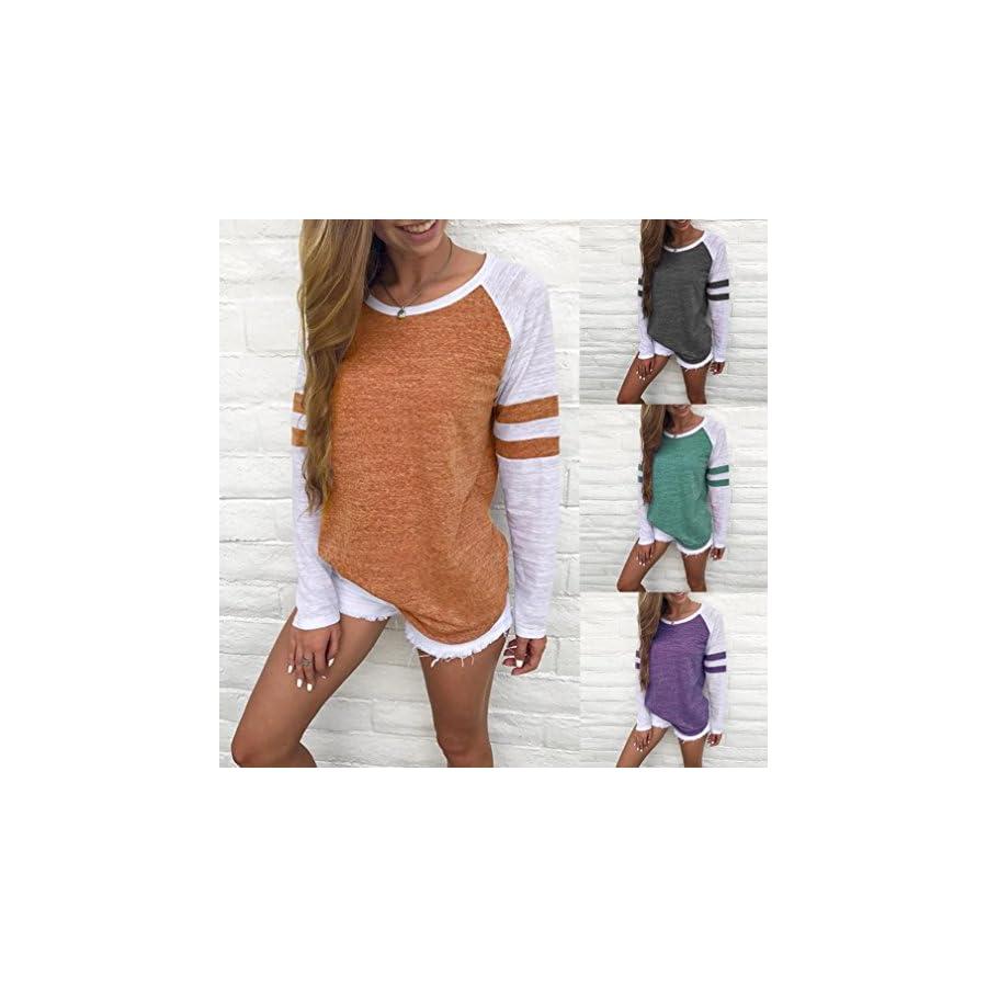 Honhui Fashion Women's Long Sleeve T Shirt Splice Blouse Spring Autumn Ladies Tops