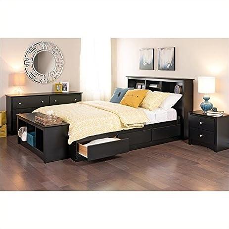Amazon.com: Prepac Sonoma Queen 5 Piece Bedroom Set in Black ...