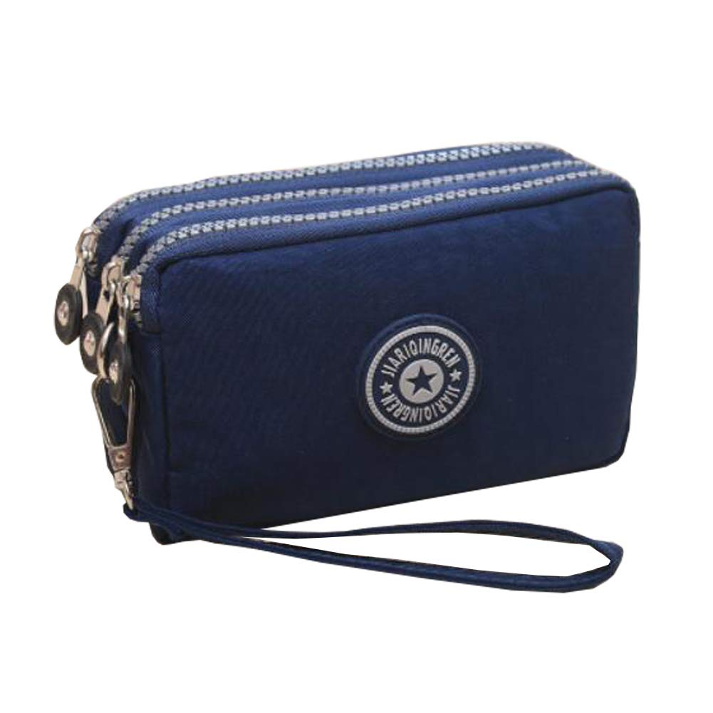Ladies Fashion Small Card Case Wallet Change Coin Purse Pouch Bag with Zipper, Navy Blue