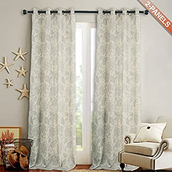 Perfect Floral Scroll Printed Linen Curtains, Grommet Top   Ikat Flax Textured  Medallion Design Retro Living