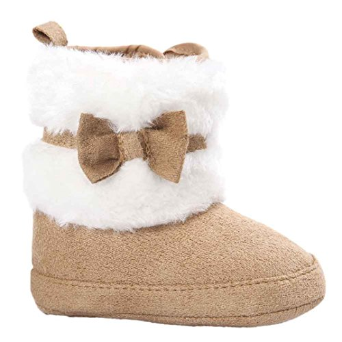 Kolylong Baby Girl Bowknot Keep Warm Soft Sole Snow Boots Soft Crib Shoes Toddler Boots