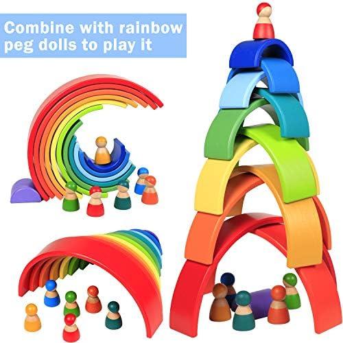 Lewo 12 PCS Wooden Rainbow Stacker Large Nesting Puzzle ...