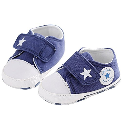 waylongplus Lienzo infantil Prewalker suave Suela antideslizante Cuna zapatos Love Impresión Slip-On Zapatillas rojo rosso Talla:13 (12-18 Months) azul