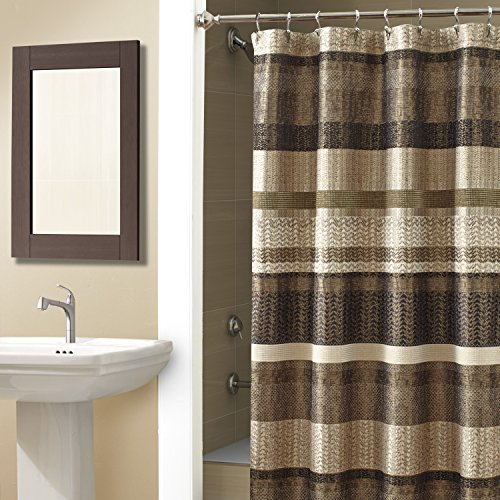 Croscill Portland Shower Curtain, 70-Inch by 72-Inch, Multi (Croscill Stripes Curtain)