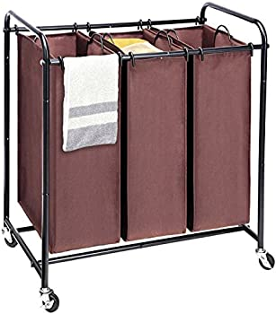 MaidMAX Metal Rolling Heavy Duty Triple Laundry Hamper Basket