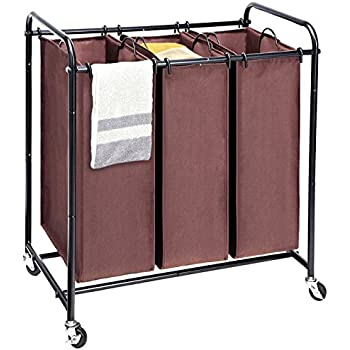 laundry sorter maidmax metal rolling heavyduty triple laundry hamper cart basket with 3