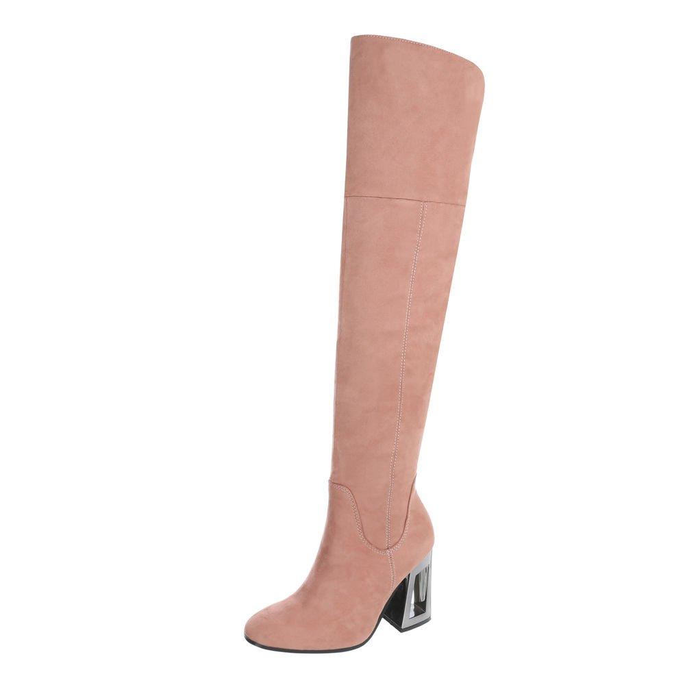 Ital-Design Overknees Damenschuhe Overknees Pump High Heels Reißverschluss Stiefel  37 EU|Pink
