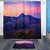 DJROW Volcano Sunrise Sunset Indonesia Shower Curtain and Bath Mat Set,Includes 72''x72'' Bathtub Waterproof Decorative Mildew Resistant Curtains and 23.6''x15.7'' Floor Mat