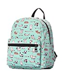 Veenajo Small Lightweight Canvas Backpack Purse Casual Daypack Ipad backpack for Women Girls Teens Kids(Green Cat)