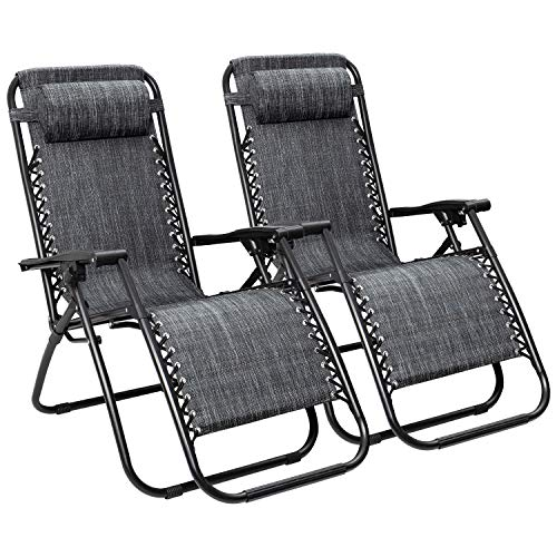 Flamaker Patio Zero Gravity Chair Outdoor Folding Lounge Chair Recliners Adjustable Lawn Lounge Chair with Pillow for Poolside, Yard and Camping Grey