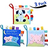 BAODANstore Soft Book, Soft Baby Books Crinkle Squeak Sound Sensory Early Education Baby My First Book Soft Baby Toy for Toddlers(3 Pack) Blue