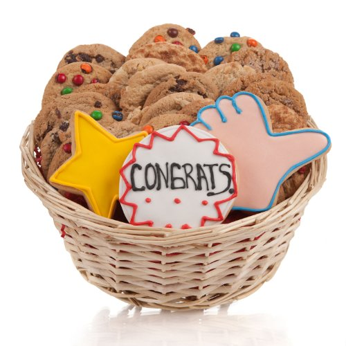 Congratulations Cookie Gift Basket- 24 - Baskets Cookie Congratulations