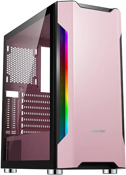 WSNBB Caso De Juegos, Caja De La Computadora del Medio Towere-ATX/ATX/M-ATX/ITX For Juegos De PC, Vidrio Templado, For PC De Escritorio Compute, Rosa: Amazon.es: Hogar
