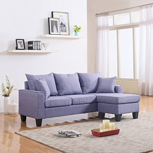 Divano Roma Furniture Modern Linen Fabric Small Space Sectional Sofa with Reversible Chaise (Light Grey)