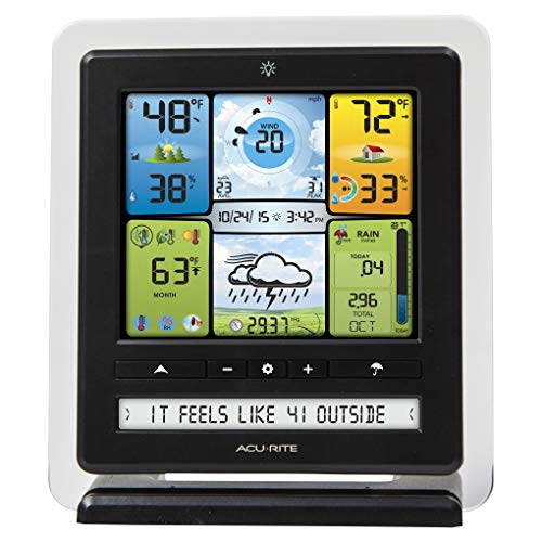 AcuRite 02064 5-in-1 Color Station with Weather Ticker and Future Forecast, White, Black