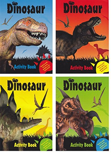 (Set of 4 Dinosaur Activity Books ~ Fun Facts, Puzzles, Coloring, Jokes & More! Children's Coloring Activity )