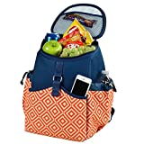 Picnic at Ascot Diamond Collection Cooler Backpack, Orange/Navy