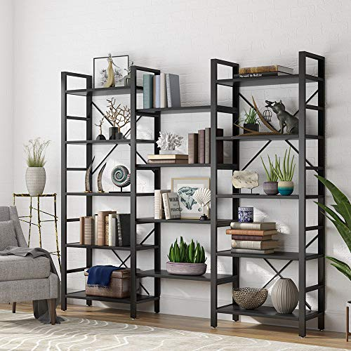 Tribesigns Triple 72 Inches Wide 5-Shelf Bookcase, Etagere Large Open Bookshelf Vintage Industrial Style Shelves Wood and Metal bookcases Furniture for Home & Office, Black