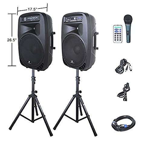 PRORECK PARTY 15 Portable 15-Inch 2000 Watt 2-Way Powered PA Speaker System Combo Set with Bluetooth/USB/SD Card Reader/ FM Radio/Remote Control/LED (15 Inch Party Speakers)