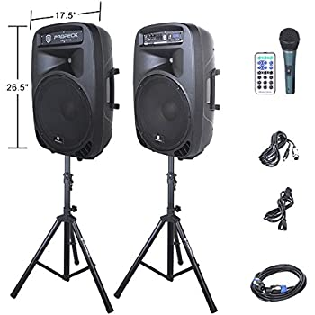 PRORECK PARTY 15 Portable 15-Inch 2000 Watt 2-Way Powered PA Speaker System Combo Set with Bluetooth/USB/SD Card Reader/ FM Radio/Remote Control/LED Light