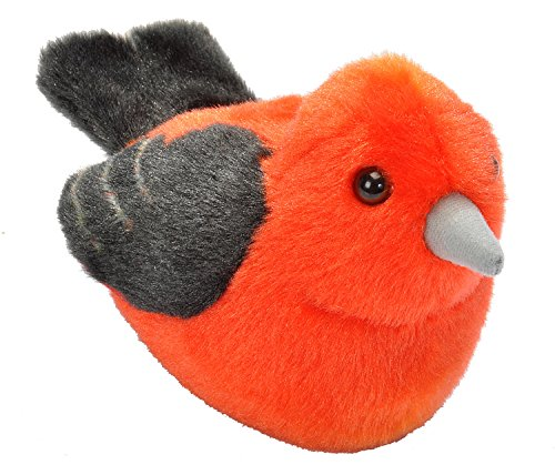 Wild Republic Audubon Birds Scarlet Tanager with Authentic Bird Sound, Stuffed Animal, Bird Toys for Kids & Birders