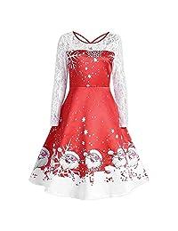 FarJing Christmas Dress, Women's Vintage Lace Print Christmas Party Swing Dress