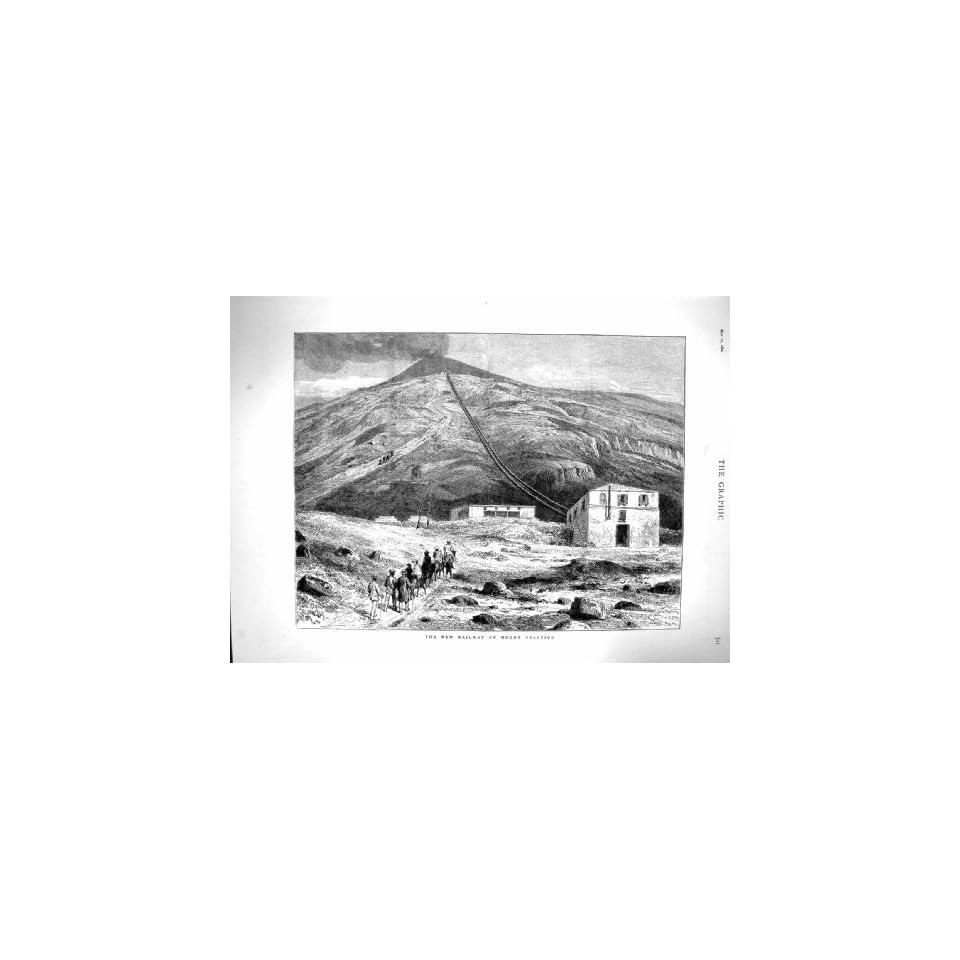 1880 Railway Mount Vesuvius Volcano Mountain Train