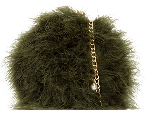 Girly Fur Bag HandBags Girly Balls HandBags Khaki Shoulder Closure CWnT5P4xH