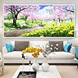 Zamtac 5D DIY Full Square Diamond Painting Mosaic Pink Cherry BlossomsDiamond Rhinestone Embroidery Cross Stitch Home Decor Gift - (Color: A, Size: 280X110)