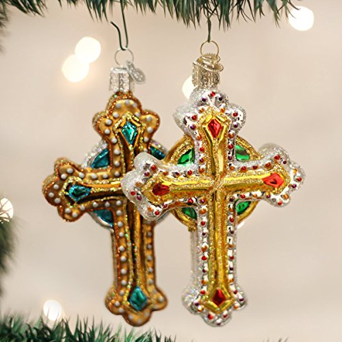 Jeweled Christmas Tree - Old World Christmas Ornaments: Jeweled Cross Glass Blown Ornaments for Christmas Tree