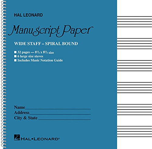 Sheet Music Staff Paper - Wide Staff Wirebound Manuscript Paper (Aqua Cover)
