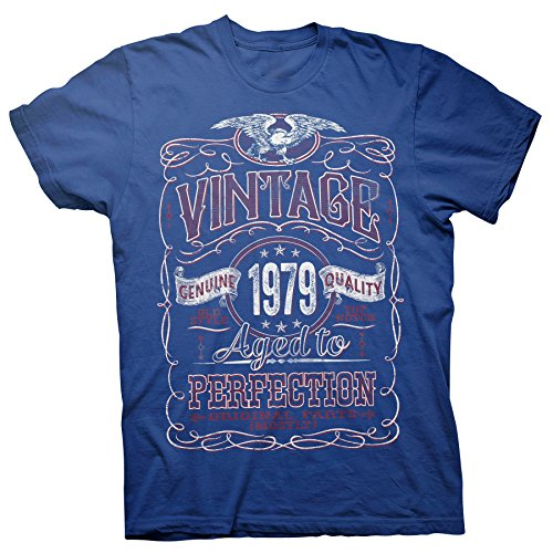 40th Birthday Gift Shirt - Vintage Aged to Perfection 1979 - Royal-003-XL