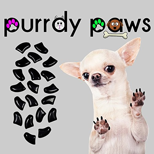 40-Pack Soft Nail Caps For Dog Claws BLACK Purrdy Paws Brand