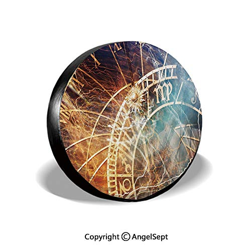Spare Tire Cover,Travel Decor Ancient Old Town Prague Horoscope Clock Czech Republic Art Print Decorative,Multicolor,for Jeep Trailer SUV RV and Many Vehicles,16 Inch