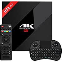 H96 PRO Android 7.1 Smart TV Box Amlogic S912 64 Bits Double WiFi 2.4G/5.8G Bluetooth 4.1 1000M H96 PRO+ 3GB/32GB+I8 Wireless Keyboard with Remote Supports 4K UHD Playing Television Video(Black)