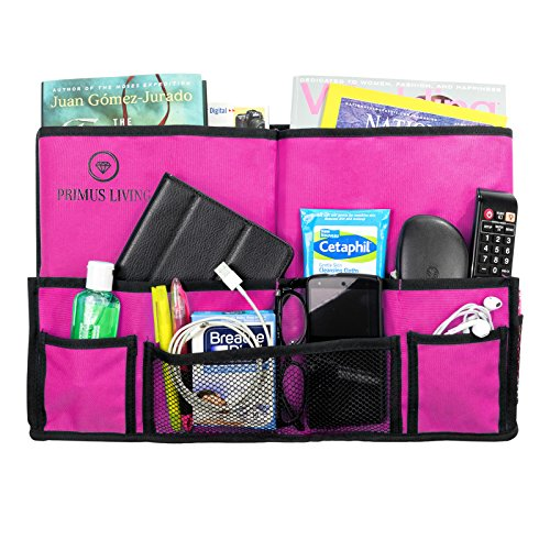 Primus Living Hanging Bedside Caddy Organizer (19 x 11 x 3 Inches) - Strong Velcro, Durable Stitching, 10 Pockets, Teal Pink Black Plastic Frame Free Pouch