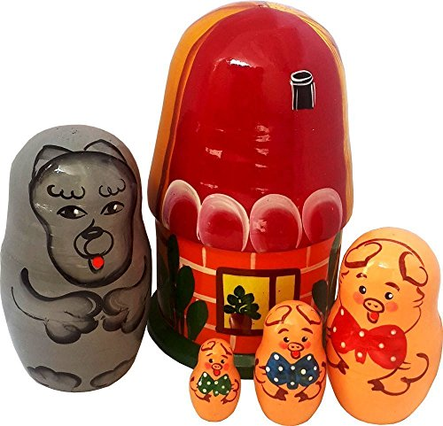matryoshka-dolls-the-three-little-pigs-nesting-doll-5-pc-set-wooden-fairy-figurines-6-tall