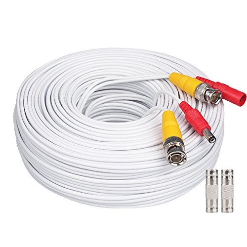 Bnc Cable 200ft All-in-One Siamese BNC Video and Power Security Camera Cable BNC Extension Wire Cord with 2 Female Connetors for All Max 5MP HD CCTV DVR Surveillance System (200ft Cable, White)