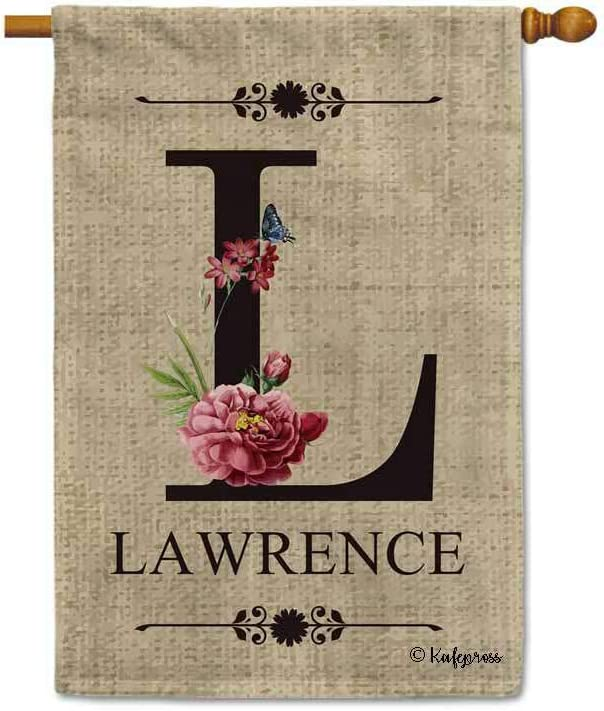KafePross Welcome Spring Summer Flowers Monogram A Decorative Garden Flag Customized Your Last Name and Initial Letter Home Decor Banner for Outside 12.5X18 Inch Print Double Sided
