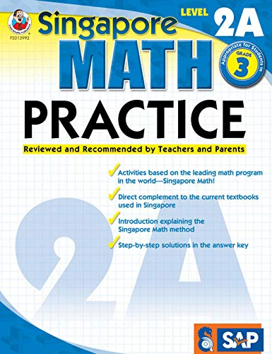 Singapore Math - Level 2A Math Practice Workbook for 3rd Grade, Paperback, Ages 8-9 with Answer Key
