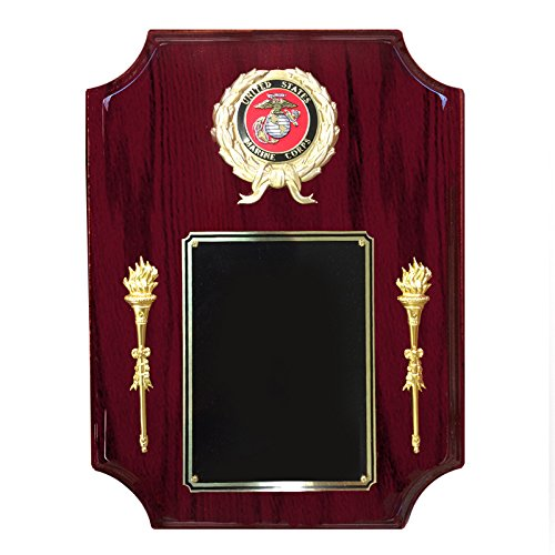 - Customizable 9 x 12 Inch Rosewood Piano Finish Plaque with Torches, Wreath with Marine Corp Insert, includes Personalization