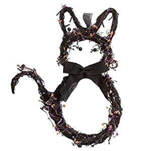 "Nantucket H Lighted Black Cat Twig Wreath Door or Wall Hanger with Berries 18.5"" 6"
