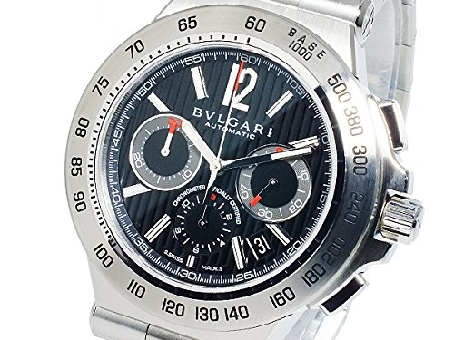 BVLGARI watch Diagono Professional black dial stainless steel belt automatic winding 100M waterproof chronograph DP42BSSDCH Men