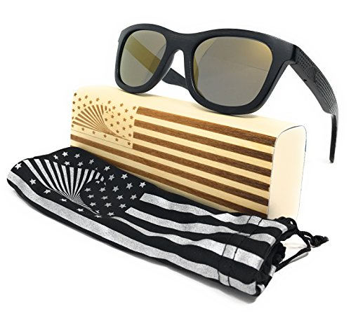 Patriot Shades Polarized Floating Large Frame Bamboo Wood American Flag Sunglasses | LOUDMOUTH PATRIOT (Black, GOLD)